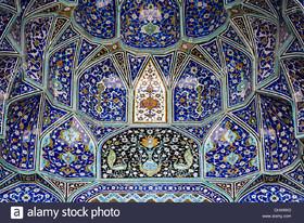 Persian tile work progressing over centuries