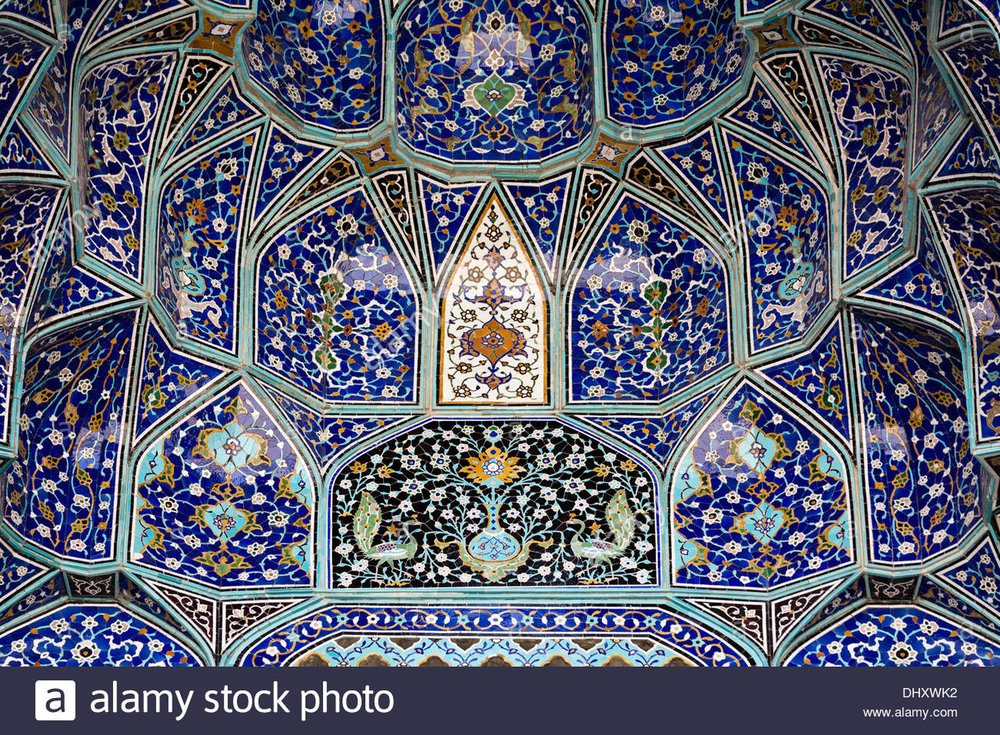 Persian tile work progressing over centuries