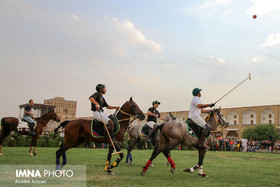 Polo players parade/ symbolic game in Naqsh-e Jahan Sq.