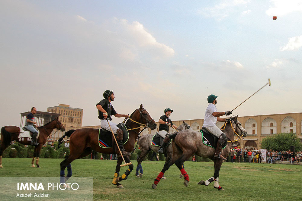 Polo players parade/ symbolic game in Naqsh-e Jahan Sq.