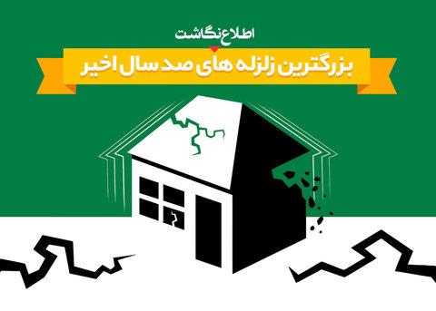 اطلاع نگاشت بزرگترین زلزله های ۱۰۰ ساله اخیر ایران