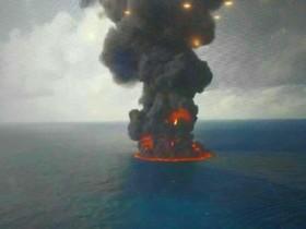 غرق کامل کشتی سانچی/امکان خارج کردن اجساد دریانوردان وجود ندارد