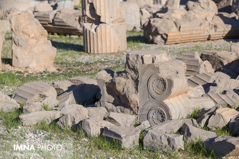 ماجرای پایه ستونهای کاخ آپادانا با پوشش نایلونی