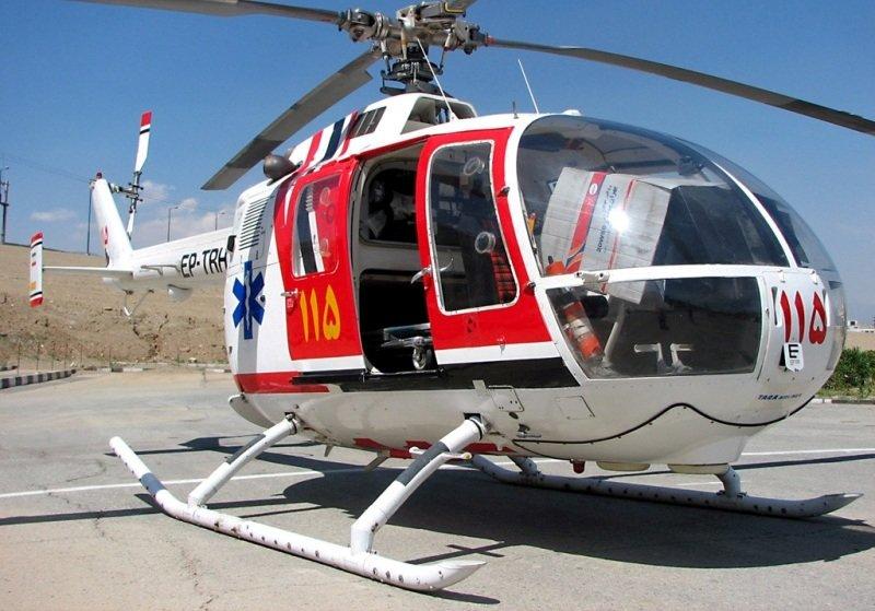 پرواز بالگرد اورژانس برای جابجایی مصدومان تصادف در میمه