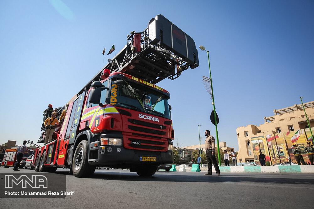 استقرار نیروها و امکانات آتشنشانی اصفهان در کربلای معلی
