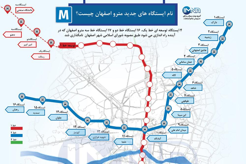 نام ایستگاه های جدید مترو اصفهان چیست؟
