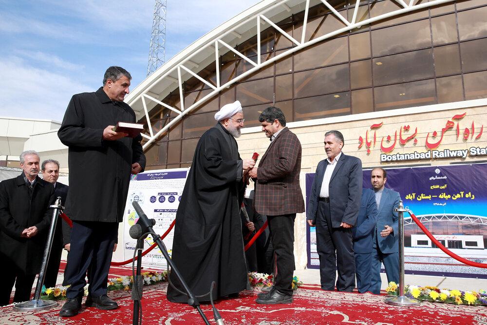 راه آهن میانه - بستان آباد افتتاح شد