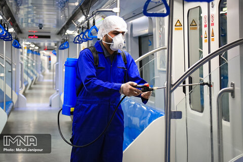 Disinfectants  sprayed at train stations in Isfahan