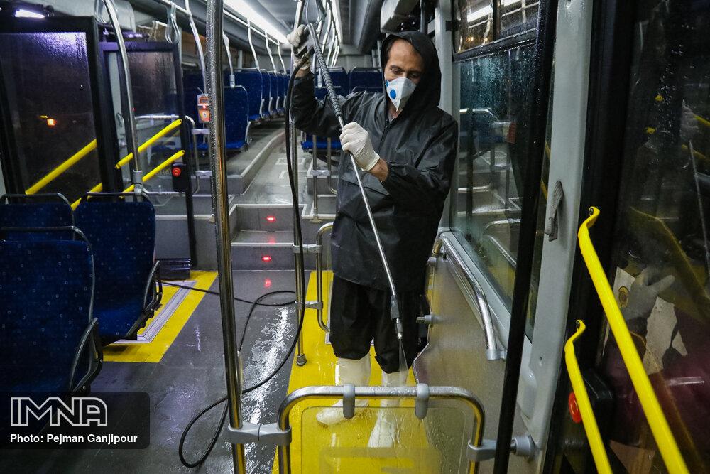 ضدعفونی اتوبوسهای مشهد ادامه دارد/تقویت خطوط پر ازدحام