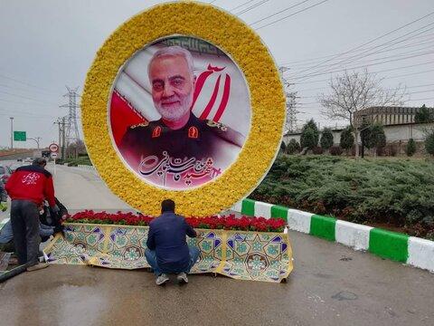 نصب المان تمثال سردار شهید سلیمانی در ۵ نقطه شهر مشهد