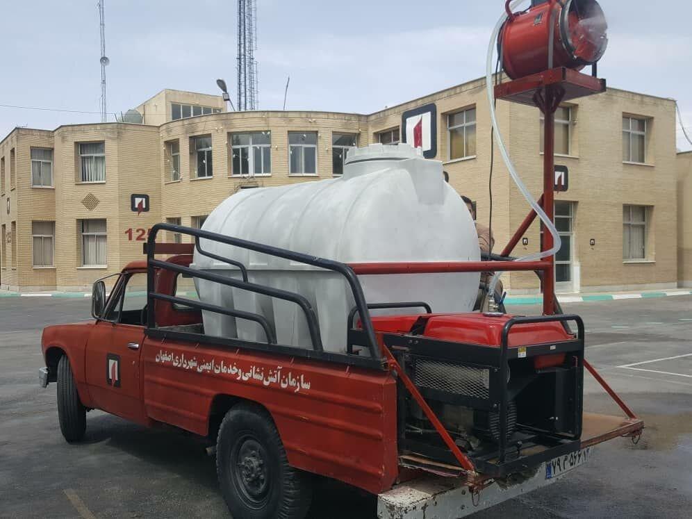 طراحی و ساخت ۲ خودرو ضدعفونیکننده سبک توسط آتش نشانان اصفهانی