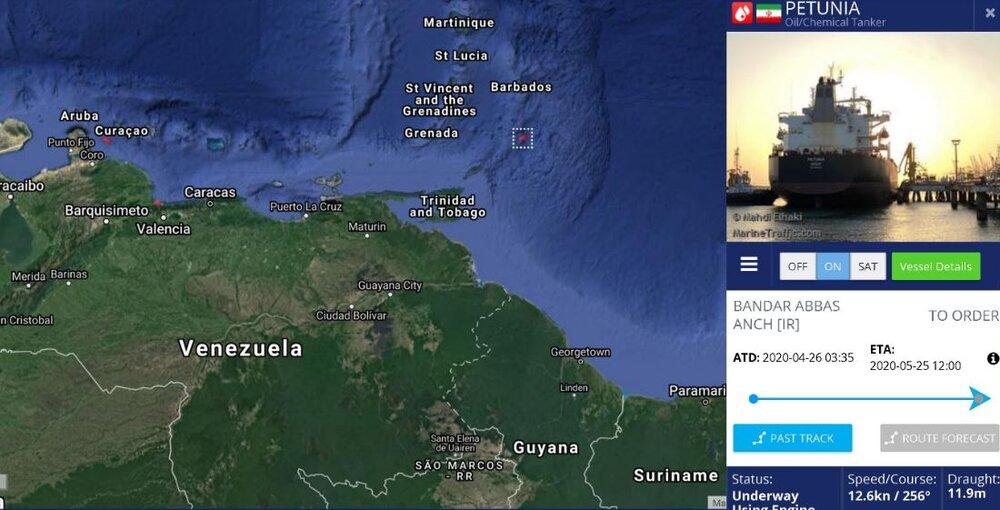 نفتکش سوم ایران تا ساعاتی دیگر وارد آبهای ونزوئلا میشود