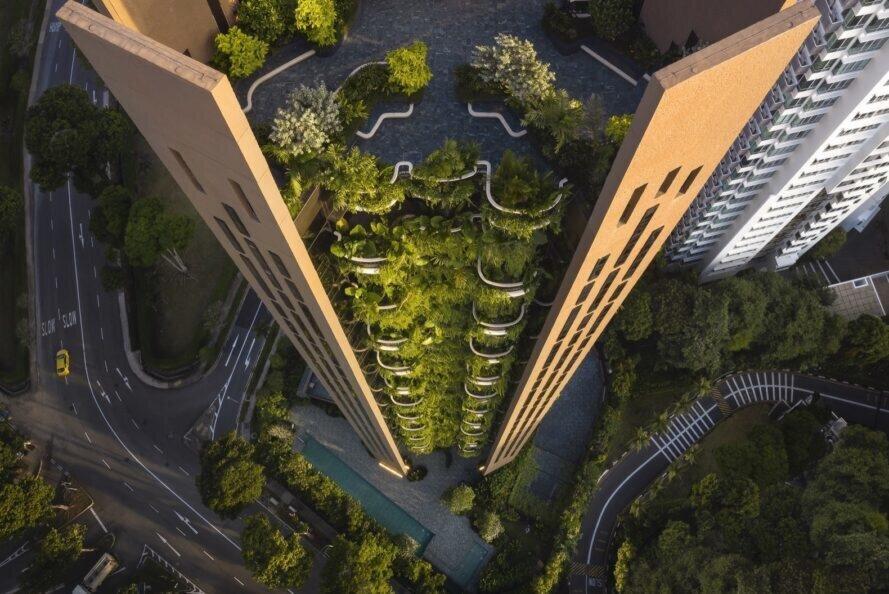 آسمانخراش سبز در قلب بافت بتنی سنگاپور