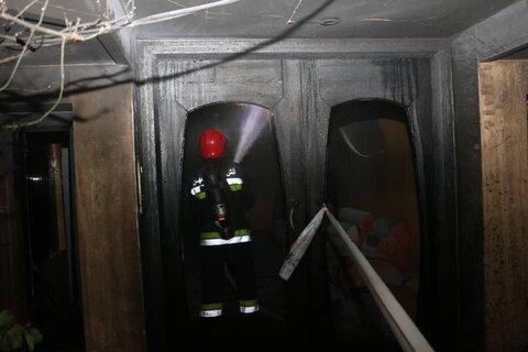 حریق در ساختمان ۴ طبقه در خیابان احمدآباد