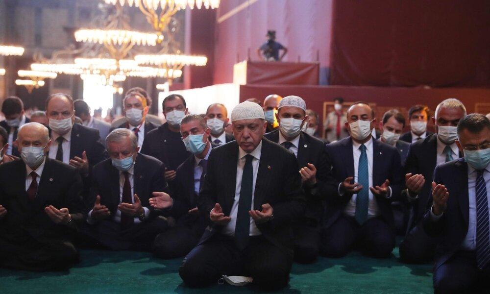 اردوغان، اولین نماز را در ایاصوفیه خواند
