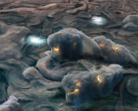 عکس روز ناسا/ صاعقههای مشتری از  جنس محلول آمونیاک