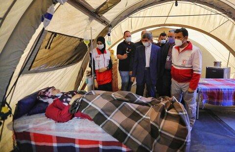 استقبال حادثهدیدگان و مجروحان بیروتی از بیمارستان صحرایی هلالاحمر در لبنان