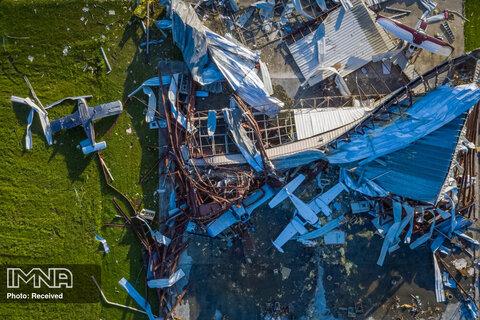 هواپیماهای منهدم شده پس از طوفان لورا در گوگرد ، لوئیزیانا