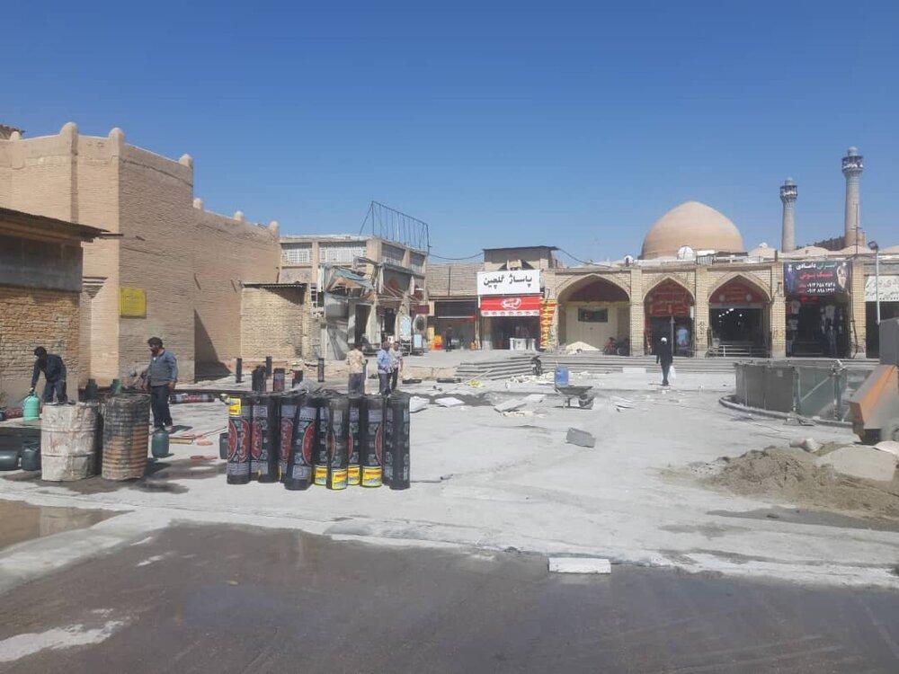 پیشرفت ٣٩ درصدی کفسازی پروژه جلوخان مسجد جامع میدان علی(ع)