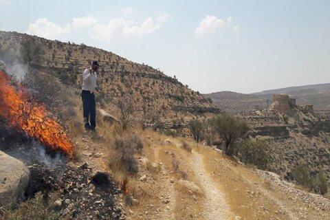 مهار آتش سوزی در مجاورت قلعه جهانی فیروزآباد