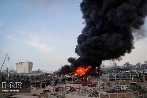 آتش سوزی عظیم  در بندر بیروت پایتخت لبنان