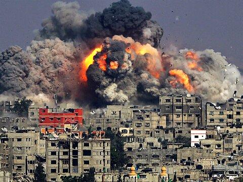 بمباران شدید غزه توسط رژیم صهیونیستی