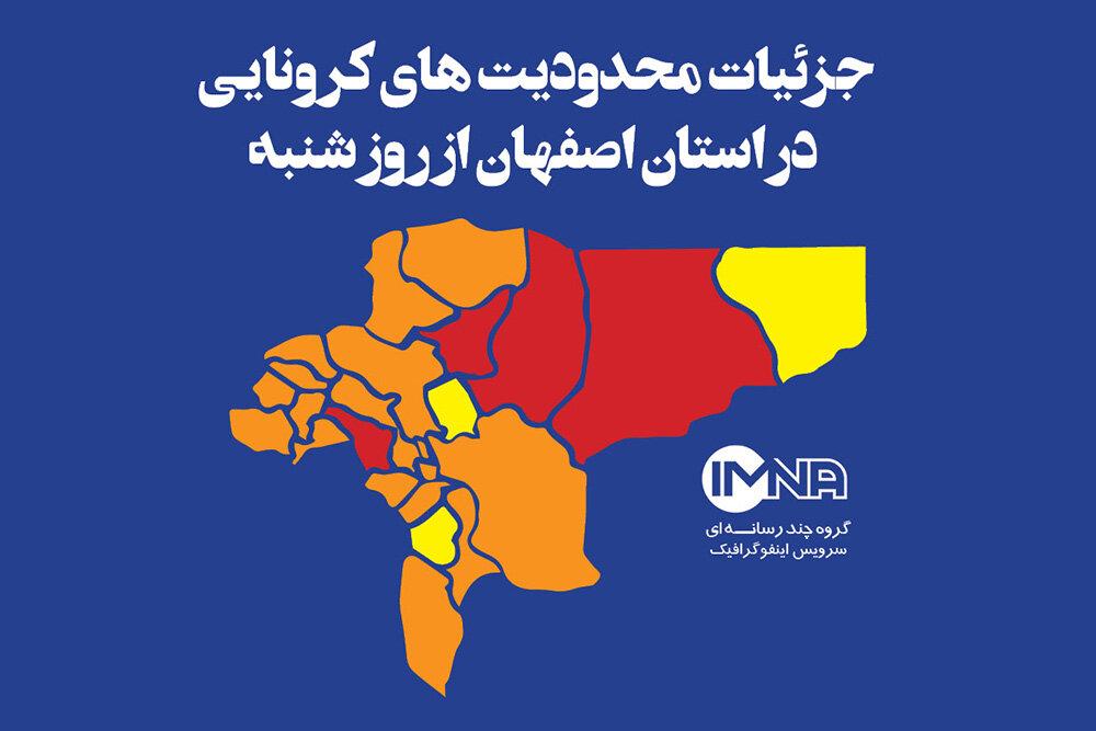 جزئیات محدودیت های کرونایی  در استان اصفهان از روز شنبه(۱۵آذر ۹۹)