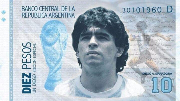 تصویر مارادونا روی پول آرژانتین