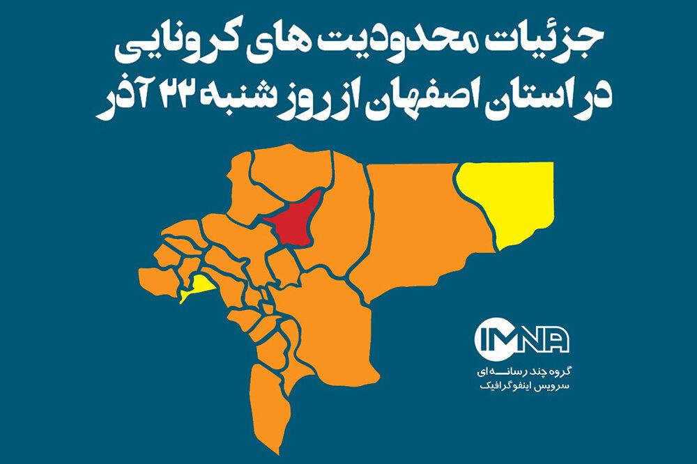 جزئیات محدودیتهای کرونایی در استان اصفهان از روز شنبه (۲۲ آذر ۹۹)