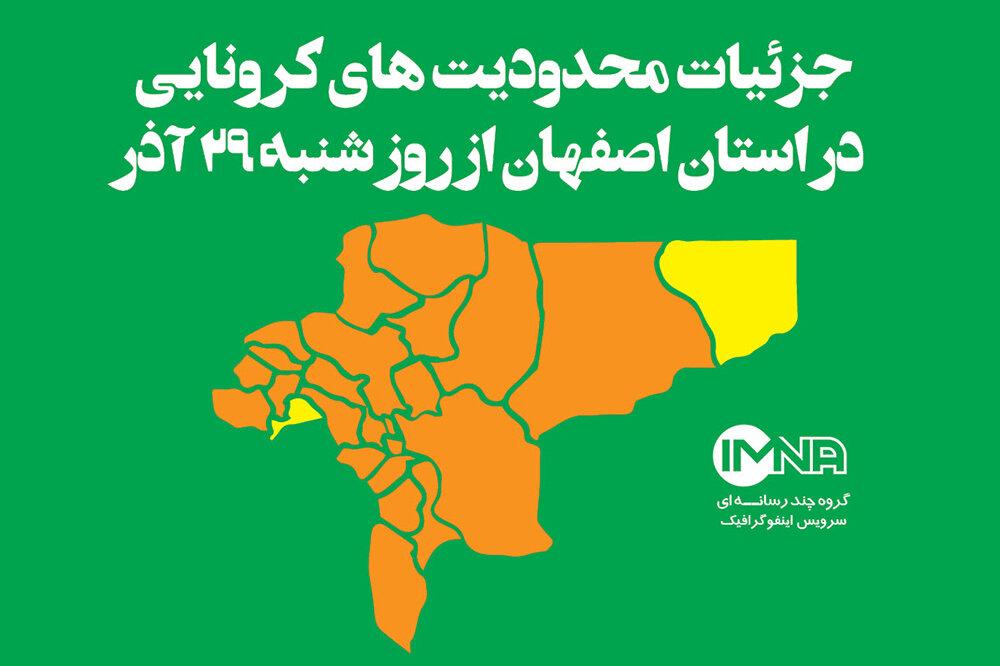 جزئیات محدودیتهای کرونایی در استان اصفهان از روز شنبه (۲۹آذر ۹۹)
