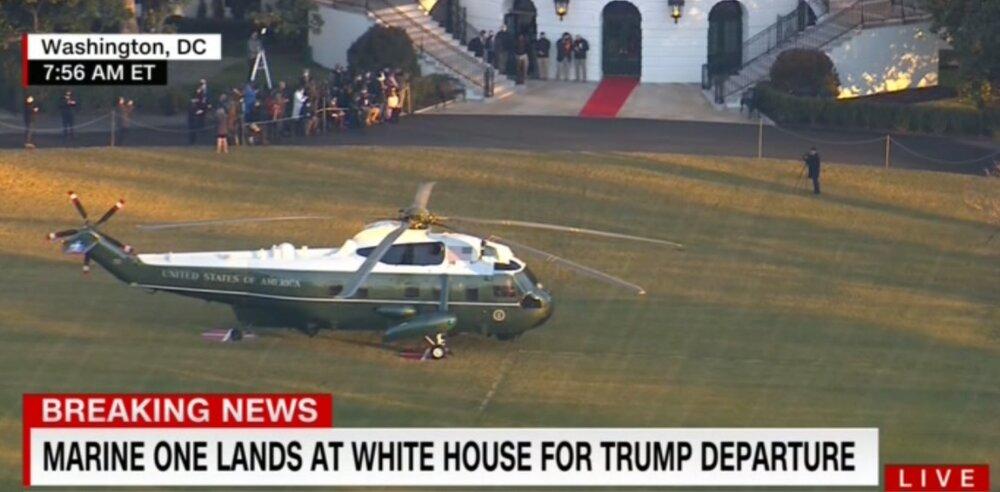 لحظه خروج ترامپ از کاخ سفید + فیلم