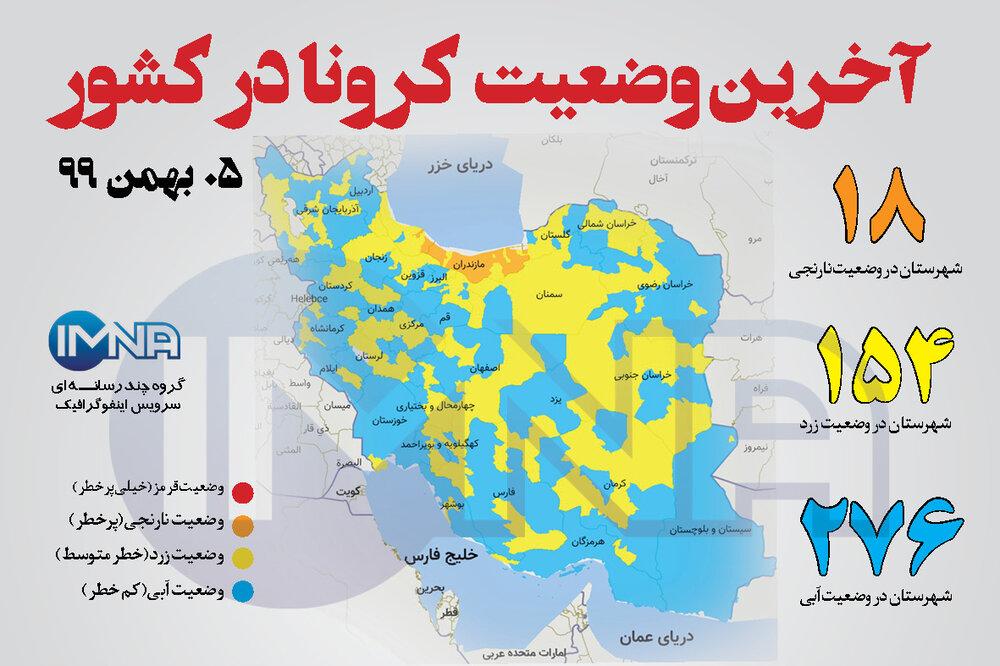 آخرین وضعیت کرونا در کشور (پنجم بهمن ۹۹) + وضعیت شهرستان ها/اینفوگرافیک