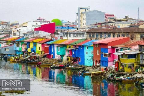 خانه های رنگی تالاب بندرانزلی