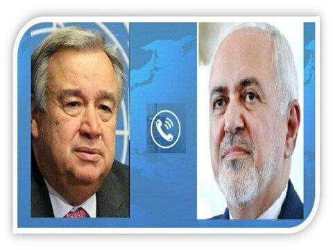 گفت وگوی دبیرکل سازمان ملل و ظریف درباره لزوم پایان جنگ یمن