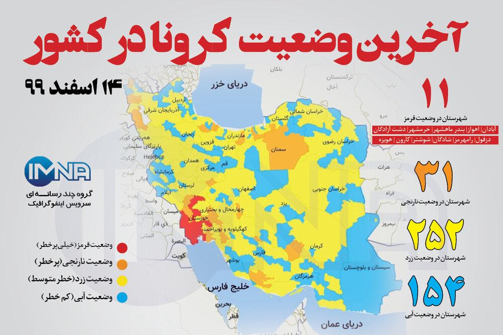 آخرین وضعیت کرونا در کشور (۱۴ اسفند ۹۹) + وضعیت شهرستانها / اینفوگرافیک