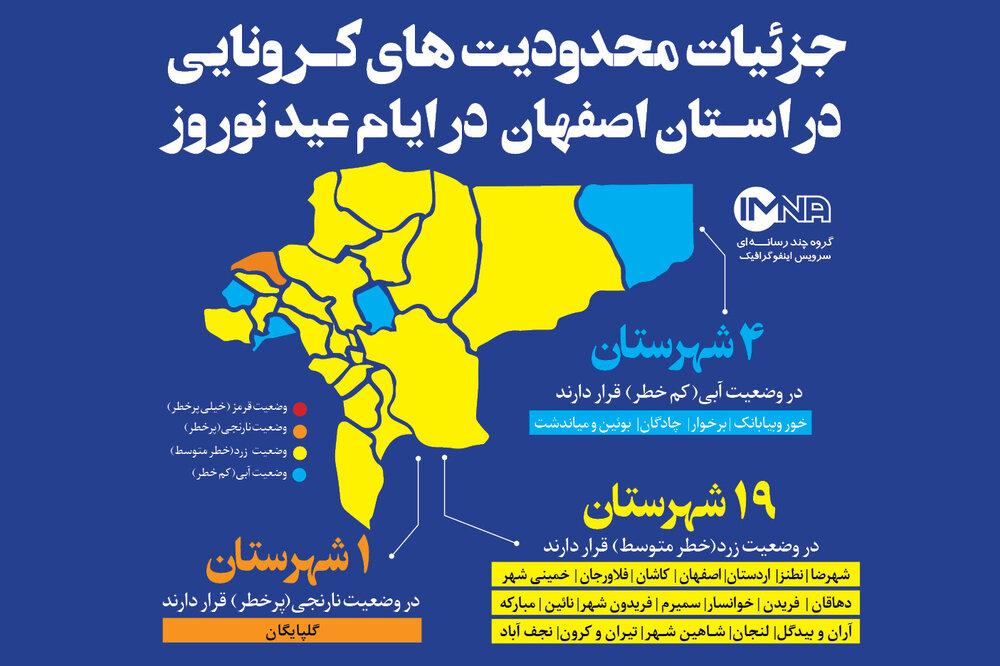 جزئیات محدودیتهای کرونایی در استان اصفهان در ایام عید نوروز +ممنوعیتها و ملاحظات سفر