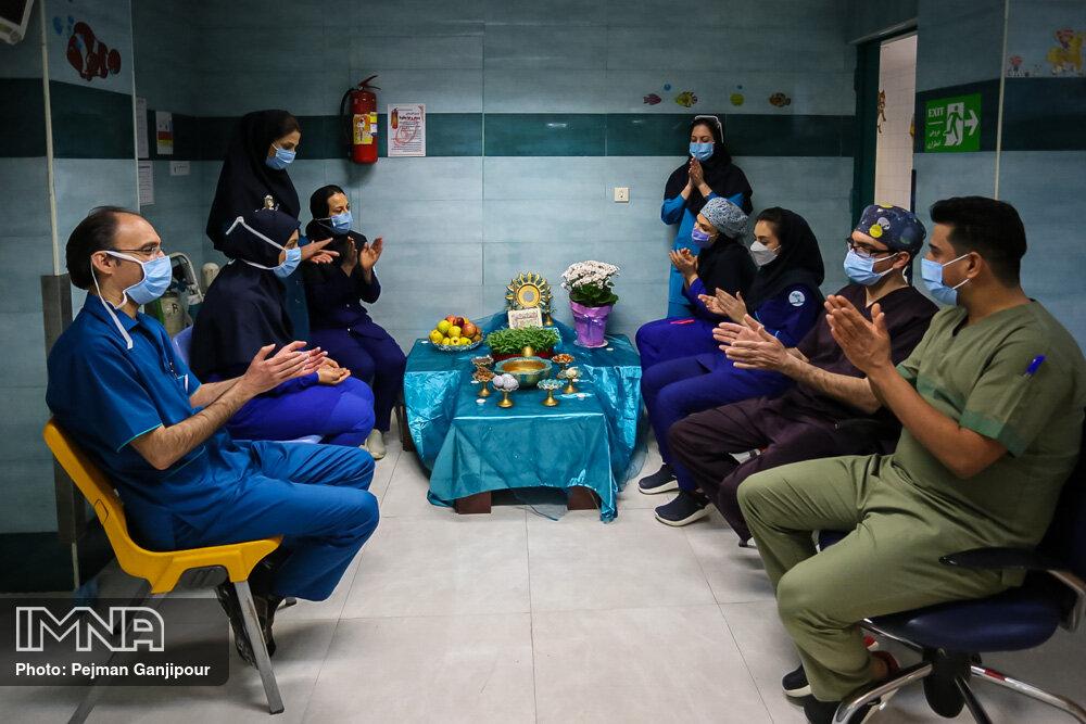تحویل سال نو در بیمارستان کودکان امام حسین(ع)