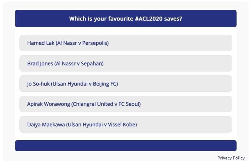 حامد لک کاندید بهترین سیو لیگ قهرمانان آسیا