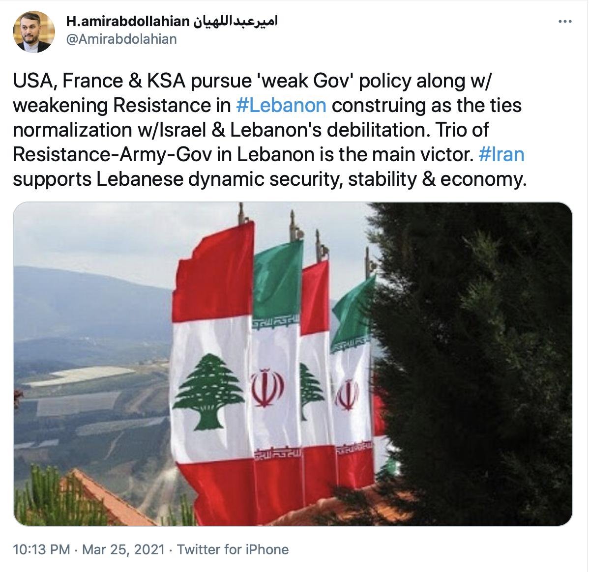 ایران از امنیت، ثبات و اقتصاد پویای لبنان قویاً حمایت میکند