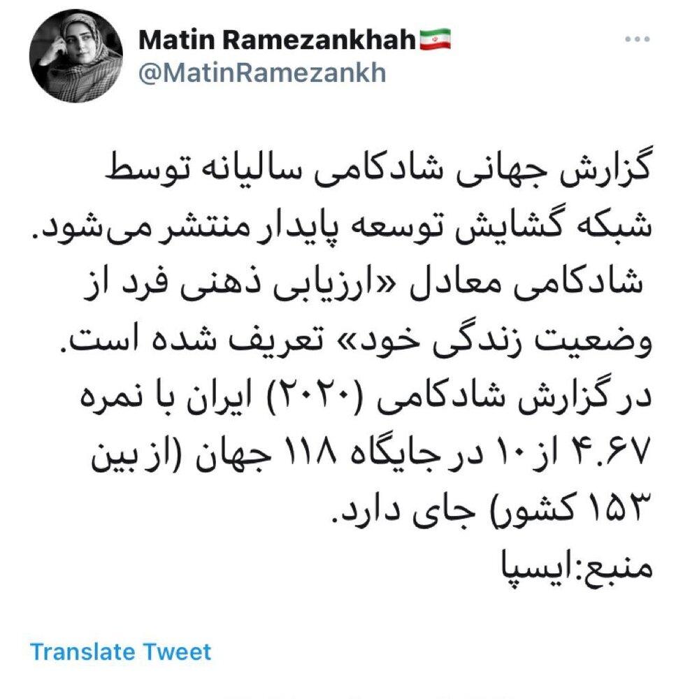 در گزارش شادکامی ۲۰۲۰ ایران در جایگاه ۱۱۸ جهان قرار دارد