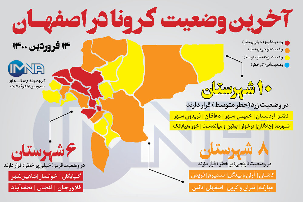 آخرین وضعیت کرونا در اصفهان( ۱۴ فروردین ۱۴۰۰) + وضعیت شهرهای استان/اینفوگرافیک