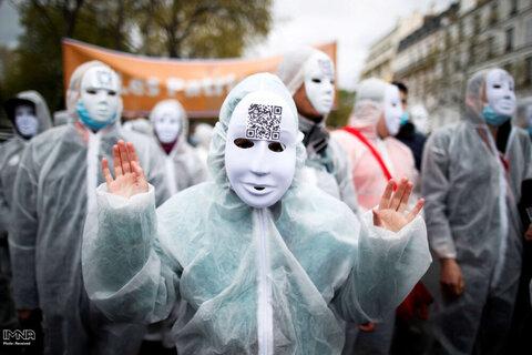 معترضین حزب ملی گرای فرانسه علیه سیاستهای اقتصادی و اجتماعی دولت در مواجهه شیوع ویروس کرونا در پاریس ، فرانسه