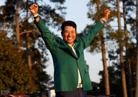 خوشحالی هیدکی ماتسویاما از ژاپن در مسابقات مستر گلف در باشگاه ملی گلف آگوستا