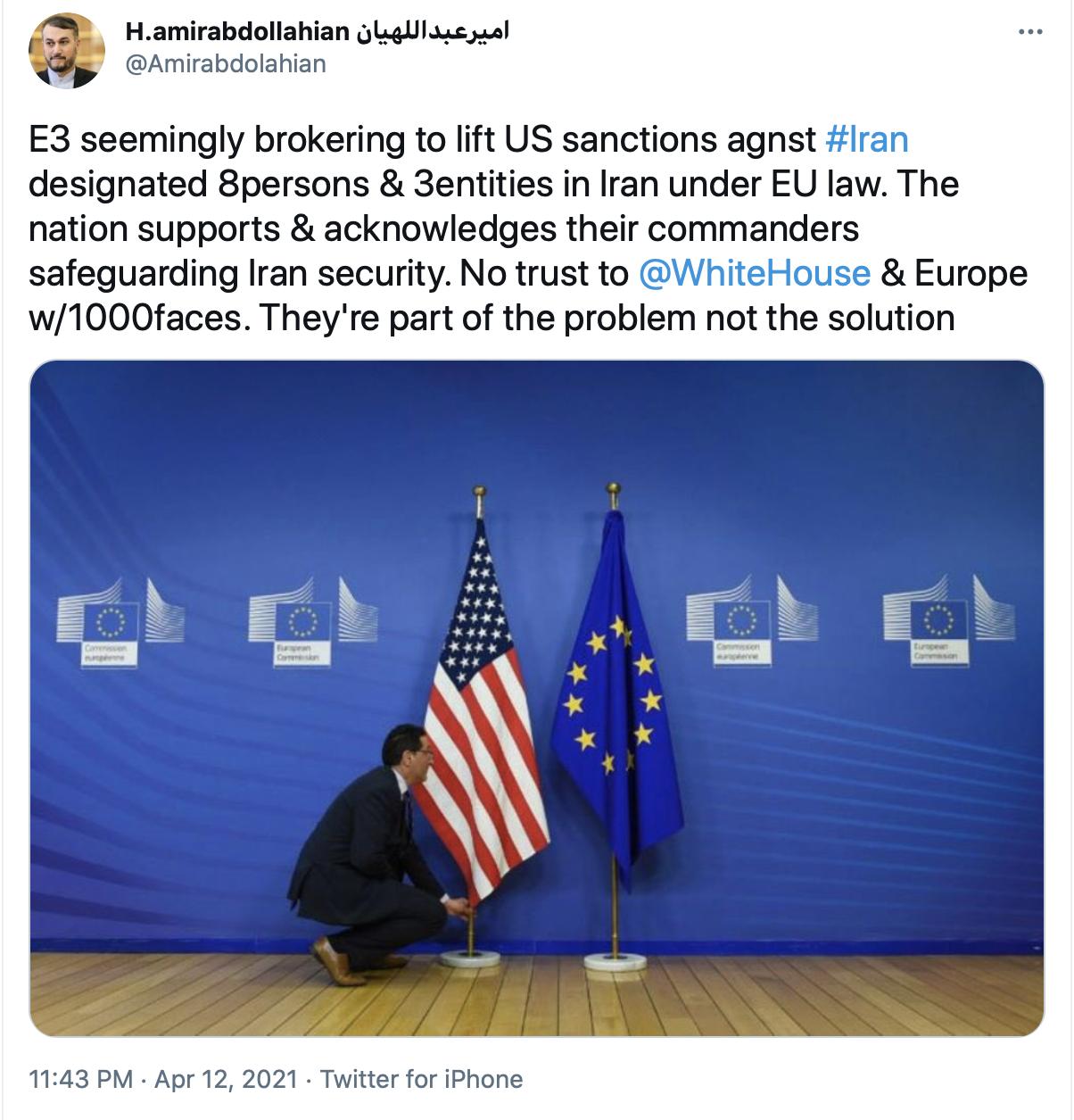 امیرعبداللهیان: به کاخ سفید و حاکمان اروپای هزار چهره اعتمادی نیست