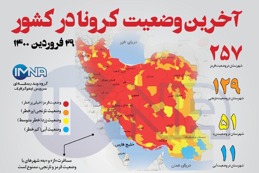 آخرین وضعیت کرونا در کشور (۲۹ فروردین ۱۴۰۰) + وضعیت شهرستانها / اینفوگرافیک