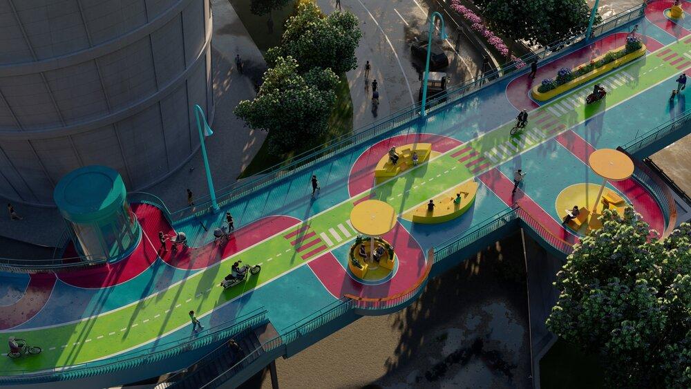 زیباسازی پیادهراه مرتفع در شانگهای