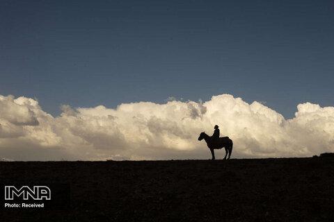 نمای مردی در حال اسب سواری هنگام غروب خورشید در استان تونج ایلی ترکیه
