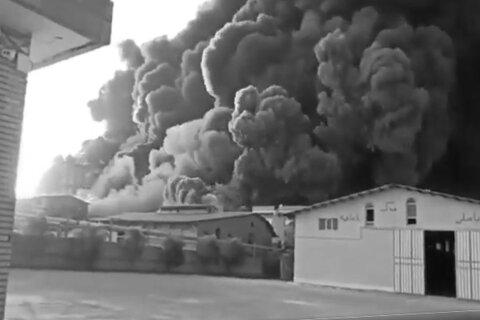 آتش سوزی در شهرک صنعتی شکوهیه قم