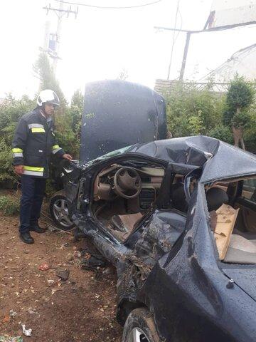 واژگونی هولناک خودرو در جاده انرژی اتمی اصفهان+ عکس