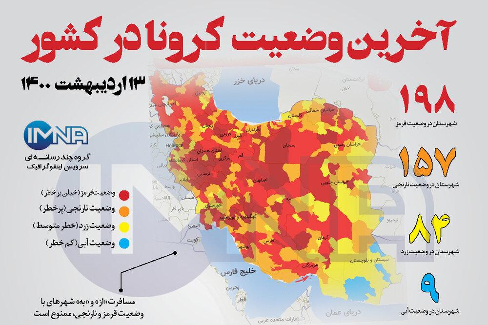 آخرین وضعیت کرونا در کشور (۱۳ اردیبهشت ۱۴۰۰) + وضعیت شهرستانها / اینفوگرافیک